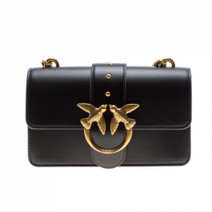 Pinko small black shoulder bag with birds