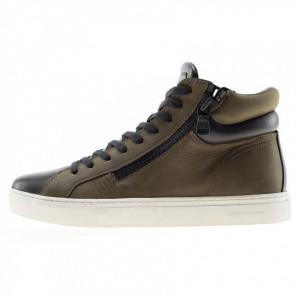 Crime London sneakers alte verdi uomo double zip