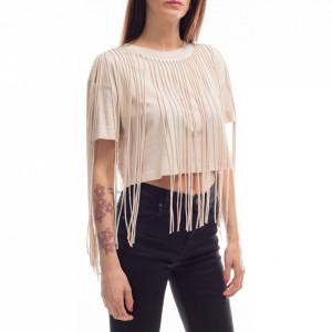 Jijil beige t-shirt with fringes