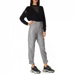 Jijil gray eco-leather trousers