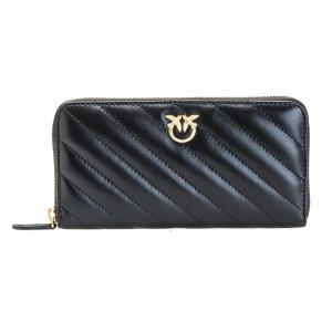 Pinko portafoglio nero trapuntato con zip