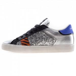 Crime London sneakers glitterate argento