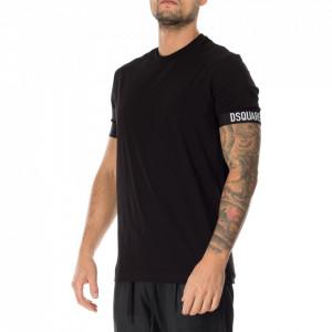 Dsquared2 tshirt nera stripes logate