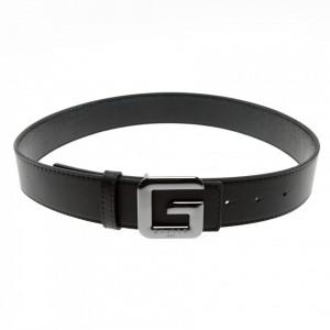 Gaelle cintura nera fibbia logo argento scuro