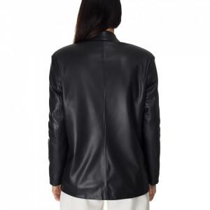 Jijil-giacca-blazer-nera-ecopelle