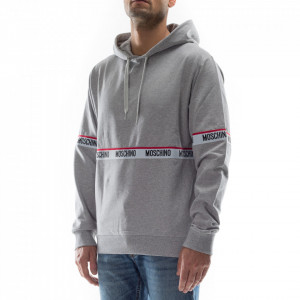 Moschino gray sweatshirt with hood and central stripe