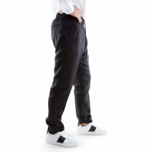 pantalone nero in lino con lacci