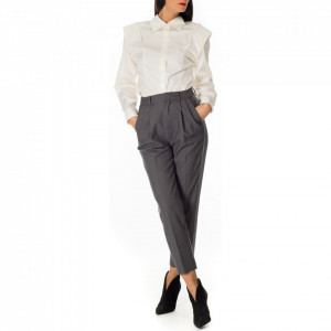 Isabelle Blanche pantalone grigio con pinces