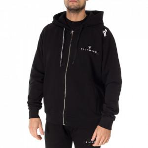 John Richmond black hooded sweatshirt with zip
