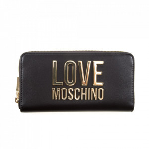 Moschino Love black wallet with gold zip