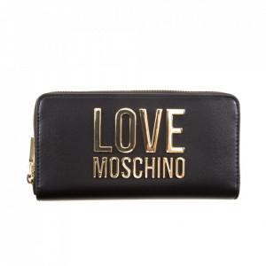 Moschino Love portafoglio nero con zip oro