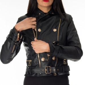 NoSecret black eco-leather jacket with gold buttons