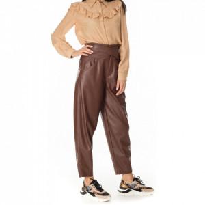 pinko-pantalone-ecopelle-marrone