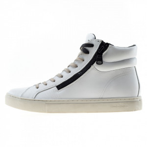 Crime London sneakers alte bianche uomo double zip