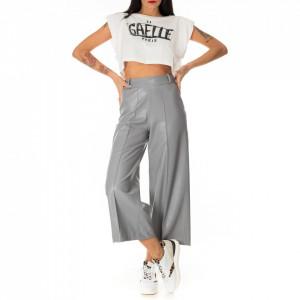 Jijil pantalone a palazzo ecopelle grigio