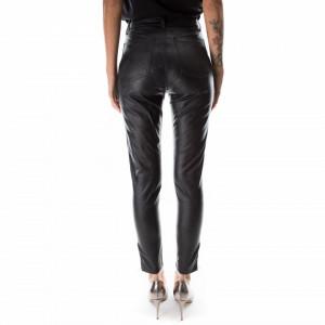 pantalone ecopelle-nero-donna