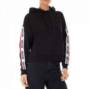 Moschino felpa nera con cappuccio e stripe logata
