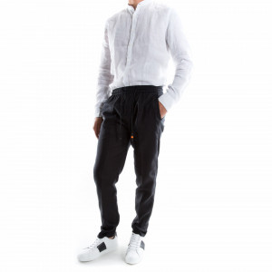 Outfit pantalone nero in lino con lacci