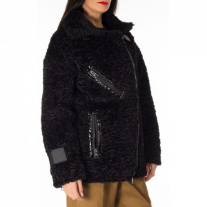 Gaelle chiodo over in eco-lana nera