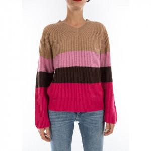 Jijil maglione lana a righe fuxia