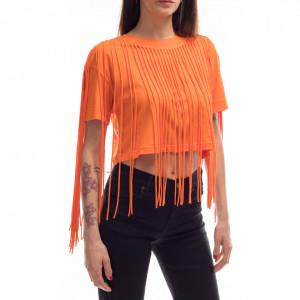 Jijil orange t-shirt with fringes