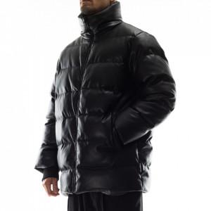 Karl Lagerfeld black faux leather down jacket