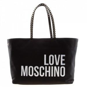 Love Moschino shopping bag in black fabric