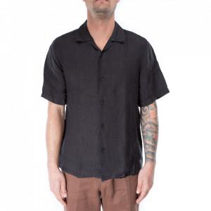 Outfit camicia bowling maniche corte lino nero