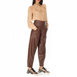 Pinko brown eco leather trousers