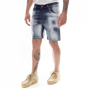 Studio Homme bermuda in jeans chiaro strappato