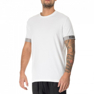 Dsquared2 white t-shirt with logoed stripes
