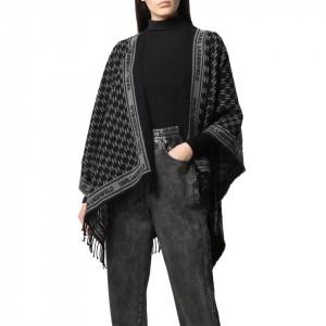 Karl Lagerfeld poncho in lana nero