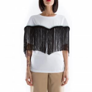Jijil t shirt over bianca con frange