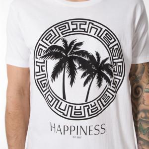 Happiness t shirt bianca con scritta uomo