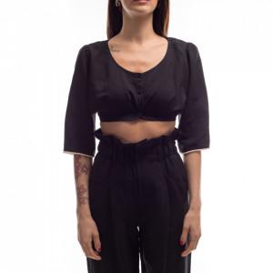 Jijil short top in black linen