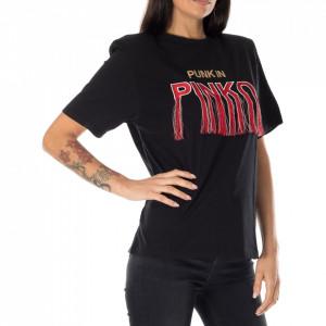 Pinko t-shirt punk con spalline