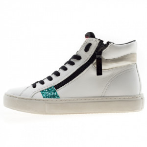Crime London sneakers alte doppia zip bianche