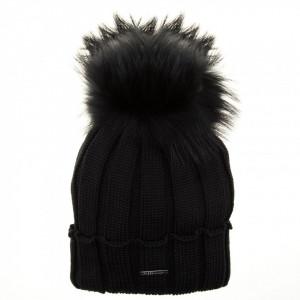 Freedomday cappello in lana nero con pon pon