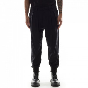 Gaelle pantalone jogger nero con elastici