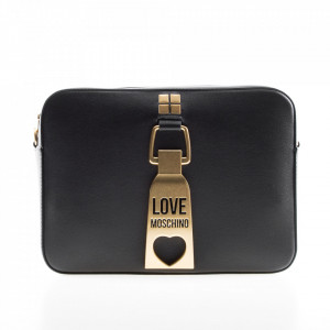 Love Moschino black shoulder bag with gold buckle