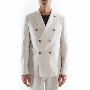 Outfit double-breasted white linen jacket