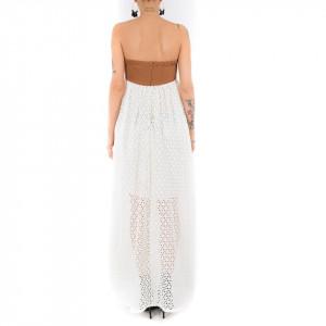 Ynot vestito lungo bianco in pizzo