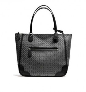 Geanta Coach Poppy Tote in Signiture Black & Silver*