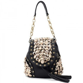Rucsac Dama Convertible Buttons Black