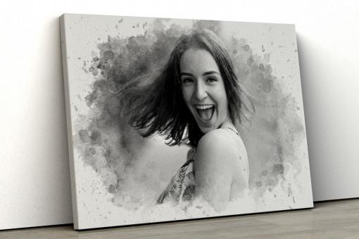 Canvas Personalizat - Efect Watercolor Black & White