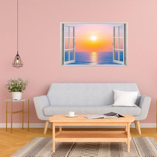 Fereastra 3D, Sticker perete - Peisaj cu rasarit de soare