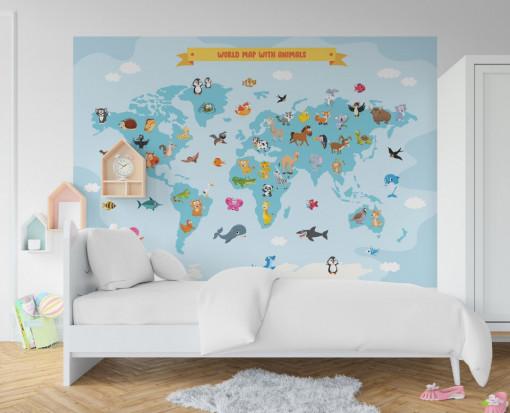 Fototapet autoadeziv copii - Harta Lumii cu Animalute