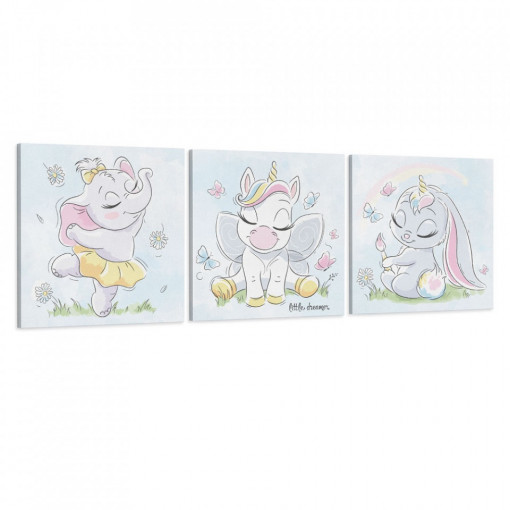 Set 3 Tablouri Canvas, Animalute dragalase