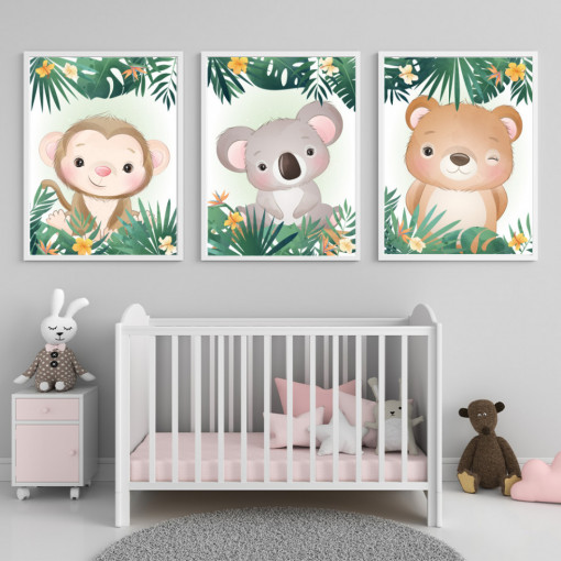 Set 3 tablouri - Koala, Maimuta si Ursuletul