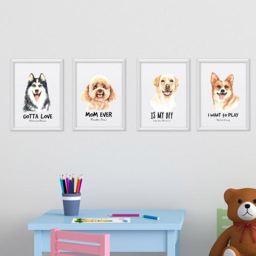 Set 4 tablouri - Caini